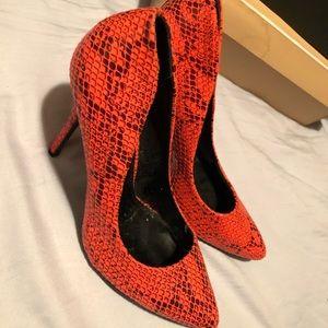 Peach snake skin design heels